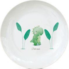 Assiette en porcelaine Dinosaure (personnalisable)