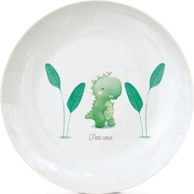 Assiette en porcelaine Dinosaure (personnalisable)  par Gaëlle Duval