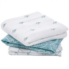 Lot de 3 langes en coton Paisley Teal (70 x 70 cm)