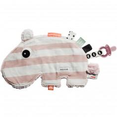 Doudou attache sucette Ozzo hippopotame rayures rose