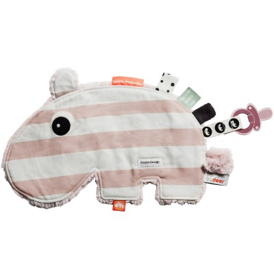 Doudou attache sucette Ozzo hippopotame rayures rose Done by Deer