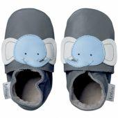 Chaussons bébé cuir Soft soles éléphant (3-9 mois) - Bobux