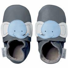 Chaussons bébé cuir Soft soles éléphant (3-9 mois)  par Bobux