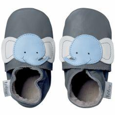 Chaussons bébé cuir Soft soles éléphant (3-9 mois)