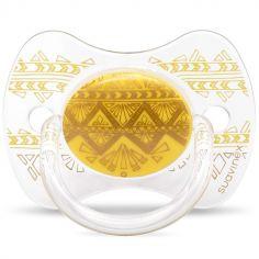 Sucette anatomique réversible Couture Ethnic jaune et doré en silicone (18 mois et +)