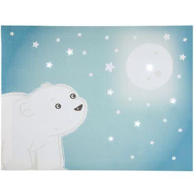 Toile lumineuse scintillante Flocon l'ourson (30 x 40 cm) Domiva