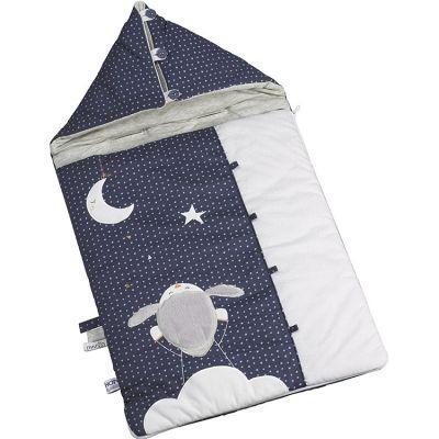 Nid d'ange passe sangle Merlin mouton bleu (80 cm)  par Sauthon