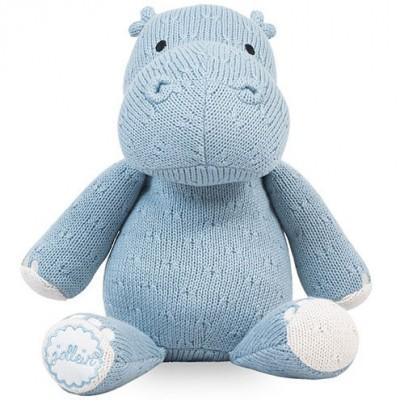 Peluche hippopotame tricot bleu (26 cm) Jollein