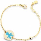 Bracelet sur chaîne Primegioie garçon rond émail bleu avec perle (or jaune 375°) - leBebé