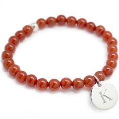 Bracelet de perles rouge terracotta personnalisable (argent 925° et agate)