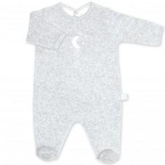 Pyjama léger terry Bmini gris à points plum (6-12 mois : 67 à 74 cm)