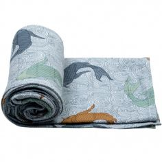 Maxi lange Fish Empire Dusty bleu (120 x 120 cm)