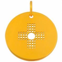 Médaille Signes Croix percée 16 mm (or jaune 750°)
