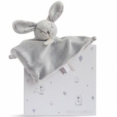 Doudou plat lapin gris (25 cm) Doudou et Compagnie