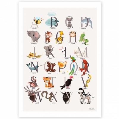 Affiche A4 abécédaire animalier grise  par Kanzilue