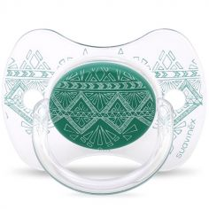 Sucette anatomique réversible Couture Ethnic vert en silicone (18 mois et +)