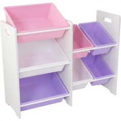 Meuble de rangement 7 casiers rose et violet