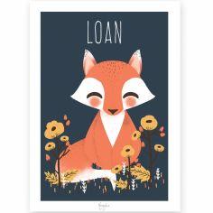 Affiche A3 Les Animignons le renard (personnalisable)