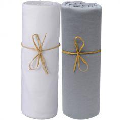 Lot de 2 draps housses en coton bio blanc et gris foncé (60 x 120 cm)