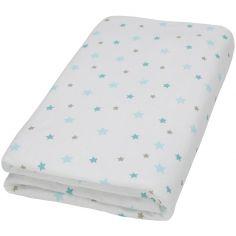 Drap housse blanc imprimé Flocon étoiles aqua  (70 x 140 cm)