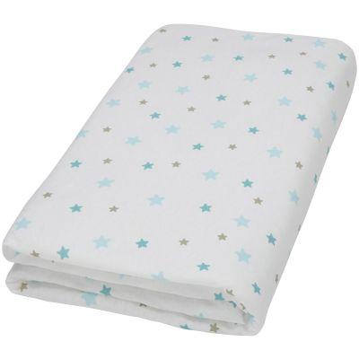 drap housse blanc imprim flocon toiles aqua 70 x 140 cm par doux nid. Black Bedroom Furniture Sets. Home Design Ideas