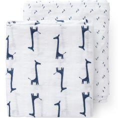 Lot de 2 maxi langes Girafe bleu indigo (120 x 120 cm)