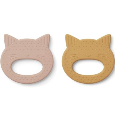 Lot de 2 jouets de dentition Geo Chat rose yellow mellow  par Liewood