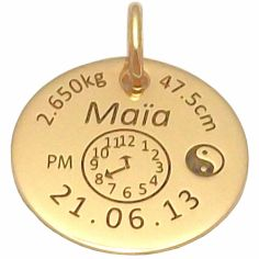 Médaille signe Yin et Yang (or jaune 375°)