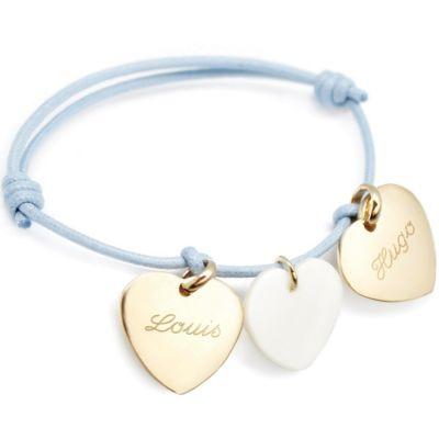 Bracelet cordon Petits coeurs (plaqué or jaune et nacre)  par Petits trésors