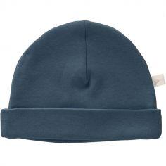 Bonnet de naissance en coton bio Indigo blue