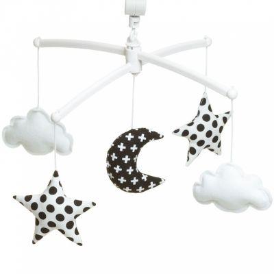 Mobile musical Lune noir et blanc  par Pouce et Lina