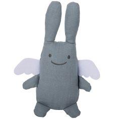 Peluche musicale en lin ange lapin bleu gris et pochette de rangement en coton (24 cm)