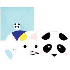 Lot de 8 cartes d'invitation Baby Animals
