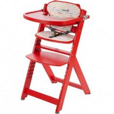 Chaise haute évolutive en bois Timba Red Lines avec coussin