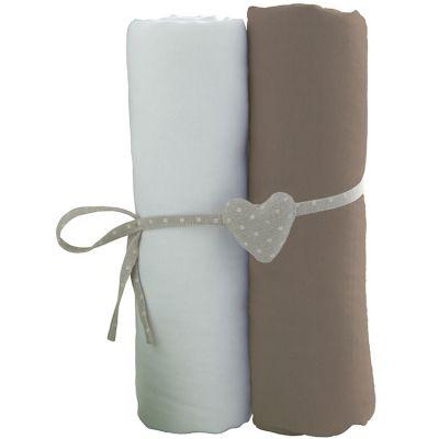 Lot de 2 draps housses blanc et taupe (60 x 120 cm)  par Babycalin