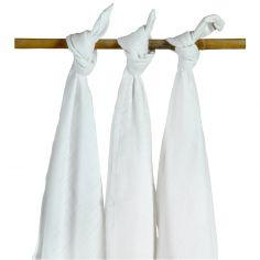Lot de 3 maxi langes blanc (115 x 115 cm)
