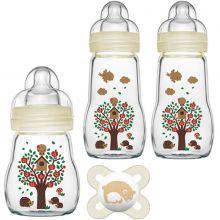 Coffret de naissance biberons verre et sucette ours  par MAM