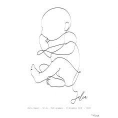 Affiche de naissance Bébé sur le côté A4 (personnalisable)