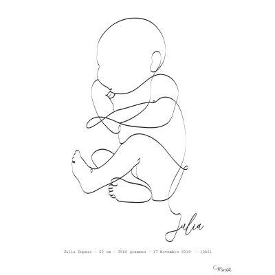 Affiche de naissance Bébé sur le côté A4 (personnalisable)  par Minoé