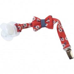 Attache sucette noeud fleurs rouges