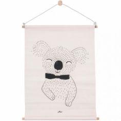 Affiche kakemono en tissu Koala pêche (42 x 60 cm)