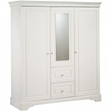 Armoire 3 portes et 2 tiroirs avec miroir Elodie Gris  par Sauthon Signature