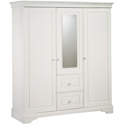 armoire 3 portes et 2 tiroirs avec miroir elodie gris. Black Bedroom Furniture Sets. Home Design Ideas