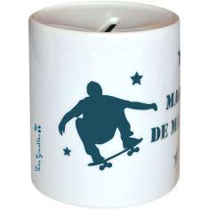 Tirelire Skate bleu canard (personnalisable)