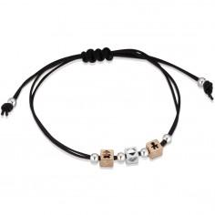 Bracelet cordon noir 1 cube garçon 1 cube fille 1 cube coeur (or rose 375° et argent 925°)