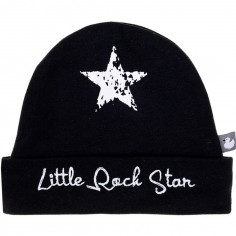 Bonnet de naissance coton doublé Little Rock Star noir - BB   Co 3db12cc8cbd