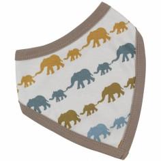 Bavoir bandana réversible éléphants marron et jaune (taille unique)