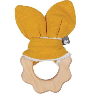 Anneau de dentition en bois jaune moutarde  par BB & Co