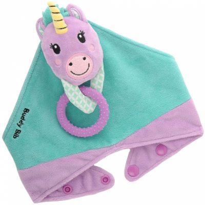 Ensemble de dentition avec bavoir, jouet et anneau Unice la licorne  par Malarkey Kids