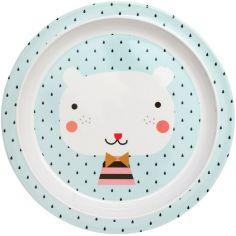 Assiette plate en mélamine Ours bleu